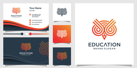 Educational owl logo with stripes and pencil concept and business card design Premium Vector