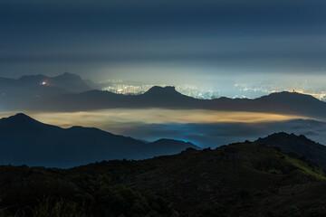 Idyllic landscape of silhouette of natural landmark mountain Lion Rock in Hong Kong
