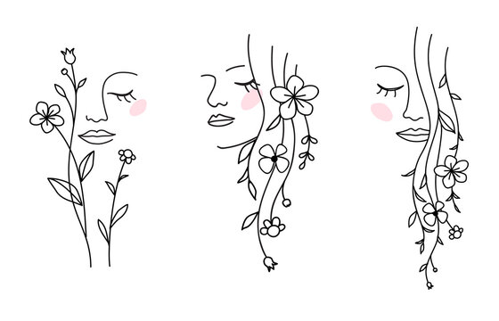 One line drawing. Set of abstract beautiful girl with flower and leaf in long hair. Decorative female beauty icon with floral pattern. Natural cosmetic concept. Vector illustration