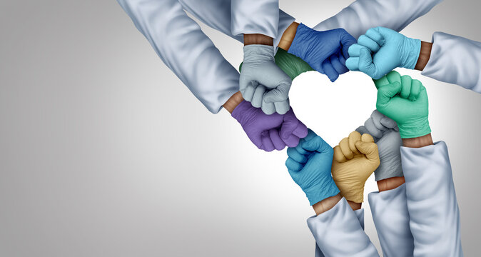 Medical staff unity and doctors working together and medical teamwork or health workers unity and global healthcare partnership as a group of diverse medics connected together shaped as a heart