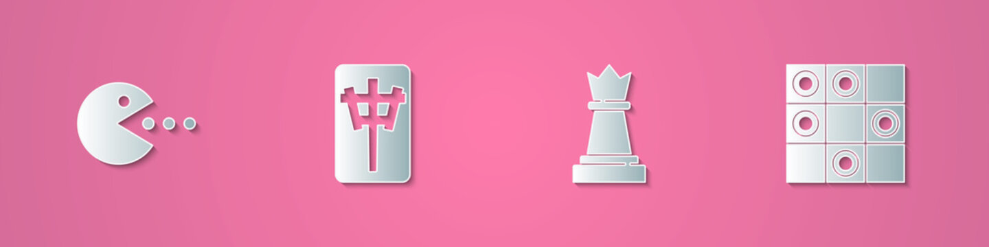Set paper cut Pacman with eat, Mahjong pieces, Chess and Board game of checkers icon. Paper art style. Vector