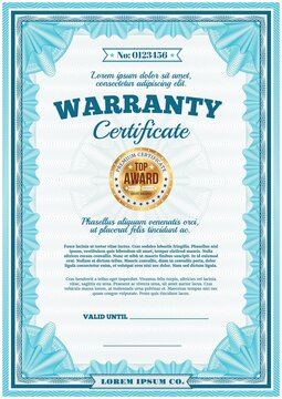 Warranty certificate, guarantee diploma border frame, vector template with gold badge stamp. Premium quality warranty certificate or top level product guarantee diploma with golden star label stamp