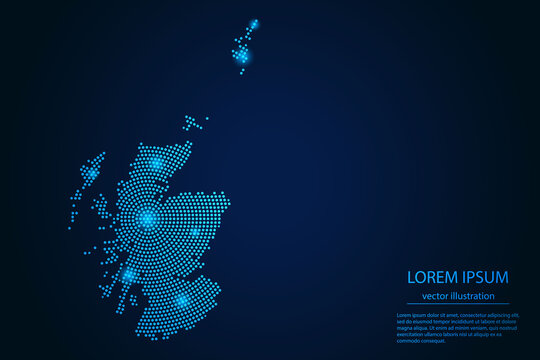 Abstract image Scotland map from point blue and glowing stars on a dark background. vector illustration eps 10.