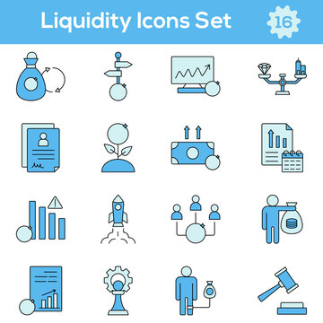 Blue Color Set of Liquidity Icon In Flat Style.