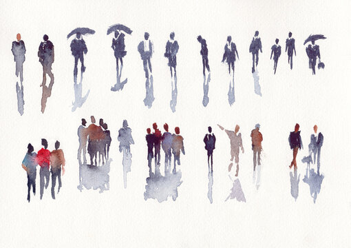 Set of abstract people in watercolor illustration sketch drawing
