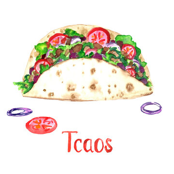 Tacos isolated on white hand painted watercolor illustration with handwritten inscription