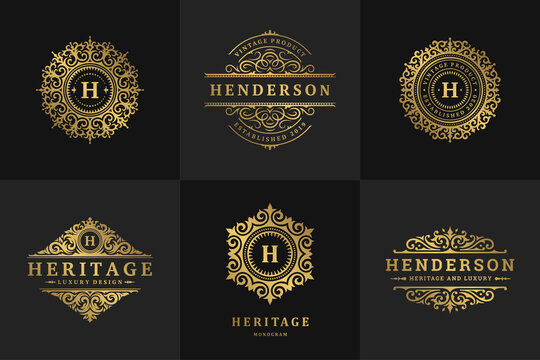 Luxury logos and monograms crest design templates set vector illustration.
