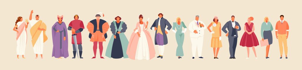 Fototapeta Development of fashion from ancient times to the present. Clothes and costume history vector illustration