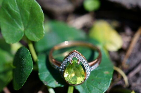 Jewelry ring with chrysolite close-up.