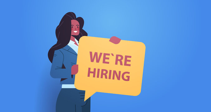 woman hr manager holding we are hiring speech vacancy open recruitment human resources concept