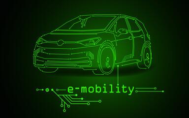 Obraz e-mobility by an electric car  - fototapety do salonu