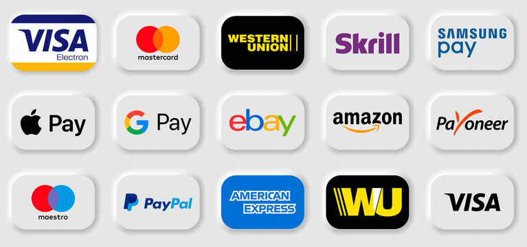 Payment method and option or channel to transfer money. paypal, western union, samsung, google pay, amazon, Payoneer, ebay, skrill, Apple pay, visa electron, mastercard, american express.