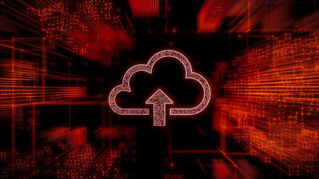 Data storage Technology Concept with cloud upload symbol against a Futuristic, Orange Digital Grid background. Network Tech Wallpaper. 3D Render