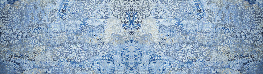Old blue gray vintage shabby damask patchwork tiles stone concrete cement wall texture background banner