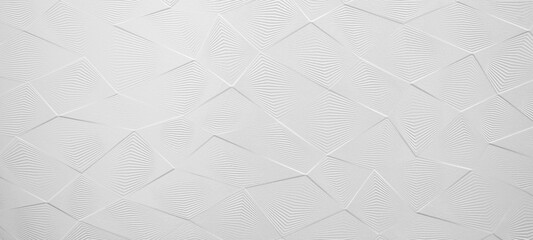 White geometric rhombus diamond 3d tiles wall texture background banner panorama