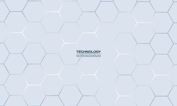Light gray hexagonal technology vector abstract background. Blue bright energy flashes under hexagon in technology futuristic modern background vector illustration. White honeycomb texture grid.