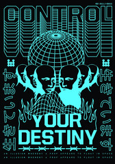 """Control your destiny text with statue vector Translation: """"Alive."""" design for t-shirt graphics, banner, fashion prints, slogan tees, stickers, flyer, posters and other creative uses"""