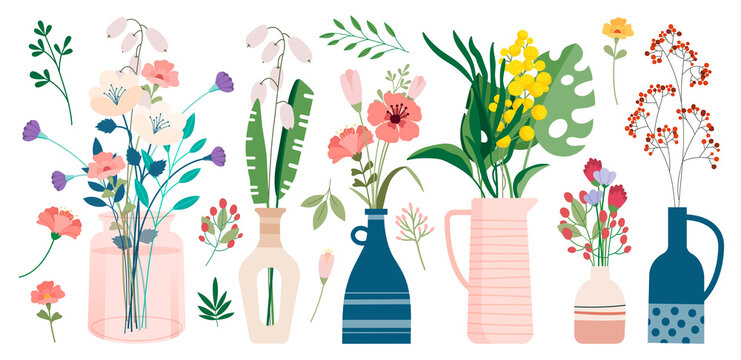 Collection of wild and garden blooming flowers in vases and bottles isolated on white background. Bundle of bouquets. Set of decorative floral design elements. Flat cartoon vector illustration