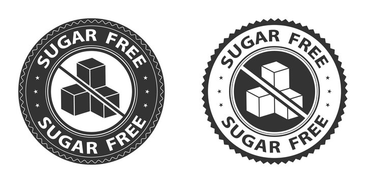 Sugar free icons, stamps set. Vector illustration isolated on white background. Badge or sticker flat design. Healthy food concept. No sugar symbol for food packaging or dietetic product nutrition.