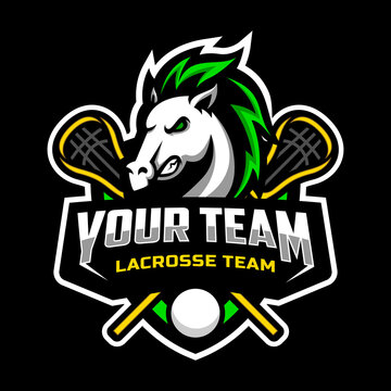 horse mascot for a lacrosse team logo. school, college or league. Vector illustration.