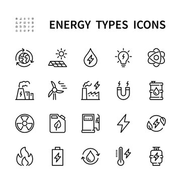 Types of energy vector line icons. Isolated icon collection for web sites on white background. Energy symbol vector set.