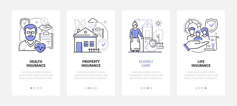 Insurance - modern line design style web banners
