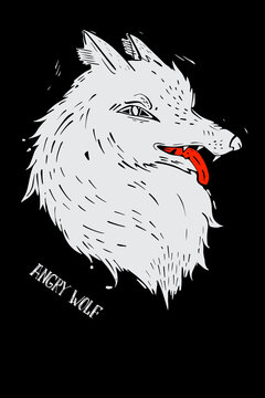 Sketch wolf for print design. Sketch drawing. Abstract contemporary vector illustration. Isolated vector illustration. Linotype style.