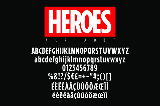 Bold condensed alphabet with red sticker for super heroes titles. Vector typography illustration