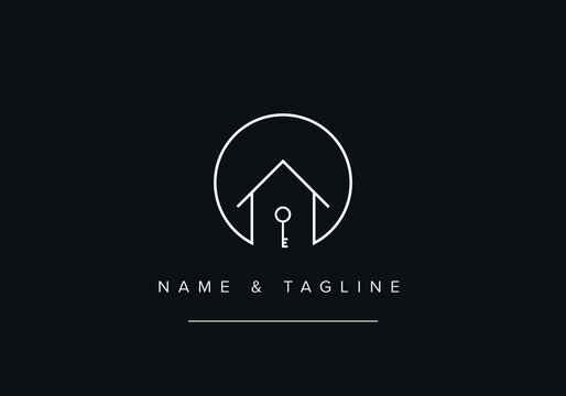 Line art icon Logo of House or home with a key