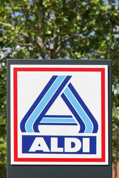 Odder, Denmark - July 18, 2019: Aldi supermarket logo on a panel. Aldi is a leading global discount supermarket chain with over 10 000 stores in 18 countries