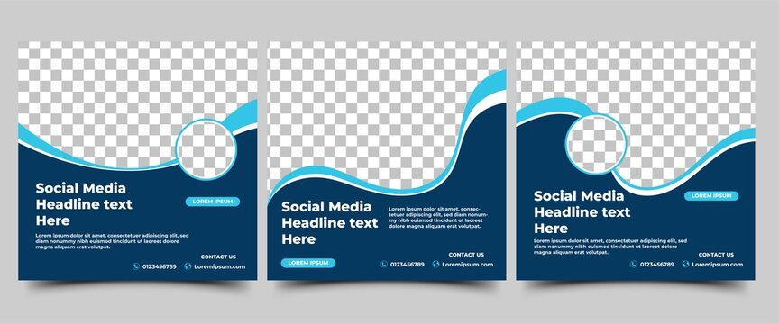 Set of Modern social media post template. Abstract blue wave shape frame with place for the photo. Usable for social media, website, flyers, and banners.