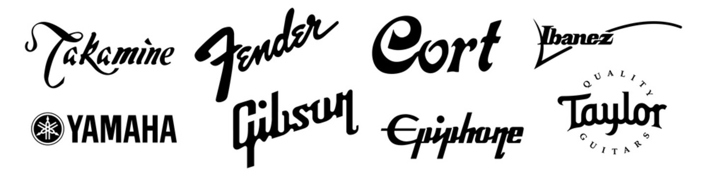 Top guitars brands logo set. Editorial image. VINNITSIA, UKRAINE. MARCH 23, 2021.