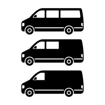 Set of minibuses icon. Small van. Black silhouette. Side view. Vector simple flat graphic illustration. The isolated object on a white background. Isolate.