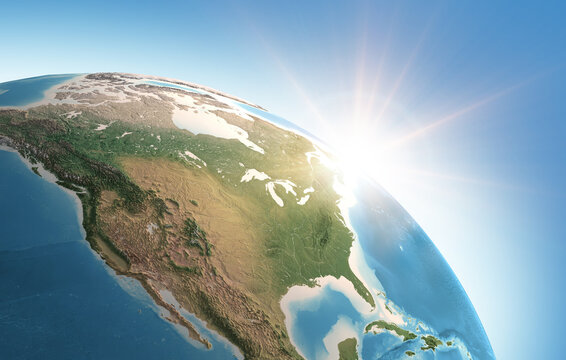 Sun shining over a high detailed view of Planet Earth, focused on North America, USA and Canada. 3D illustration - Elements of this image furnished by NASA