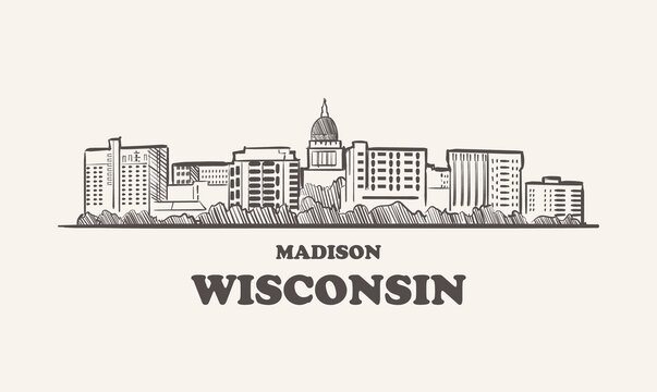 Wisconsin skyline, madison drawn sketch