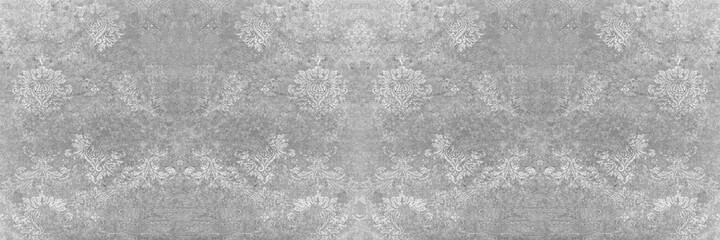 Fototapeta Seamless abstract mosaic grey gray white concrete stone cement wall texture, with ornate flower leaf pattern print tile wallpaper wide background panorama obraz