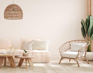 Fototapeta Cozy light home interior mock-up in pastel colors, 3d render obraz