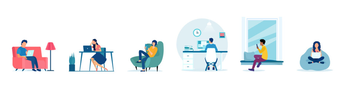 Vector of people working at home, man and woman freelancing using laptops and computers