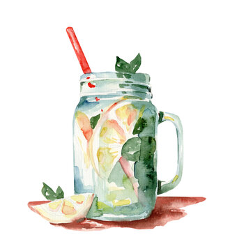 Watercolor illustration of summer refreshing lemonade with lemon and mint on a white background. Cool drink. Proper nutrition.