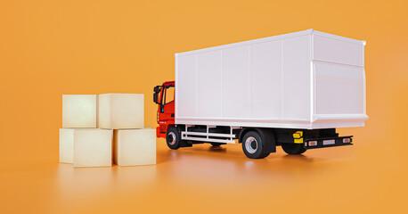 Fototapeta delivery truck, parcel boxes 3d rendering