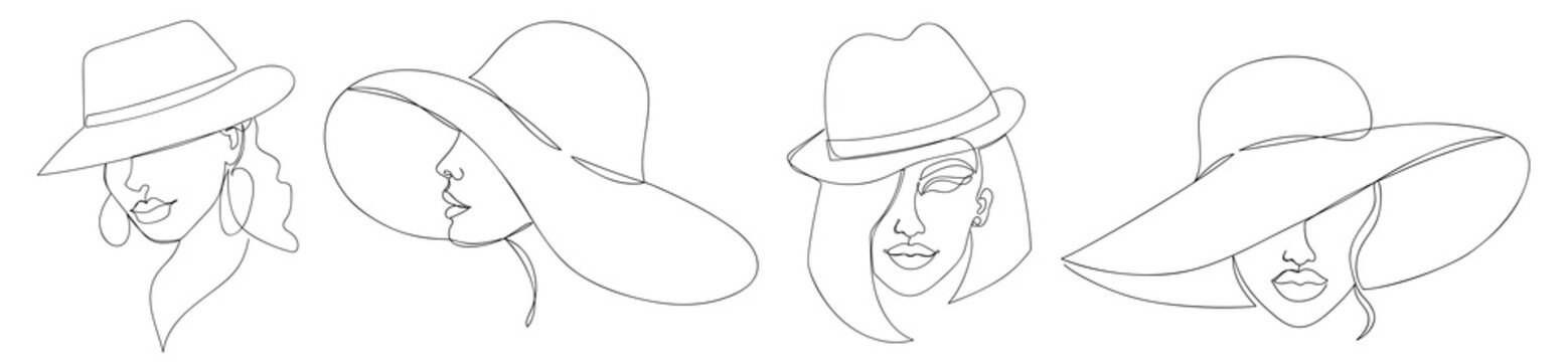 Modern one line art woman in a hat collection.