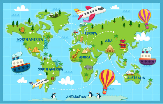 World map pointing out the continents and different specific characteristics of each one, inviting you to travel and get to know the world.
