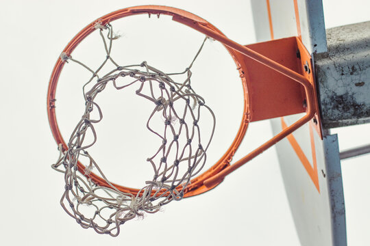 Close Up of Basketball Hoop and Net