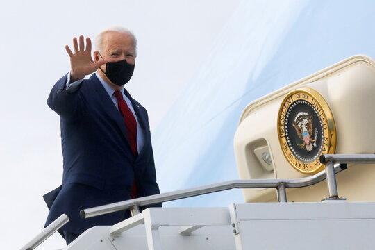U.S. President Joe Biden departs John Glenn Columbus International Airport in Columbus