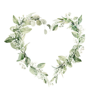 Watercolor floral wreath of greenery. Hand painted frame heart of green eucalyptus leaves, forest fern, gypsophila isolated on white background. Botanical illustration for design, print