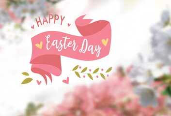 easter floral poster yeallow pink white green with text letter copy space holiday banner template greetings card