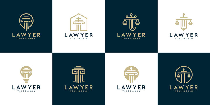 logo collection. Justice law symbols law office, law firm, attorney services, luxury logo design templates