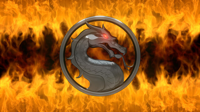 """Moscow, Russia - March 20 2021: Mortal Kombat. Dragon logo of old metal, red glowing eye in round ring. Dirty stone wall, orange glow fire. Movie Premiere - """"Mortal Kombat"""". Film and game concept"""