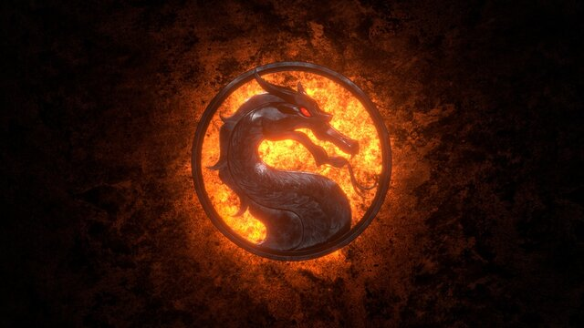 """Moscow, Russia - March 20 2021: Mortal Kombat. Dragon logo of old metal, red glowing eye in round ring. Dirty stone wall, orange glow. 2021 Movie Premiere - """"Mortal Kombat"""". Film and game concept"""