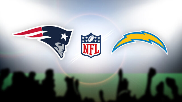 NFL New England Patriots vs Los Angeles Chargers vector illustration.